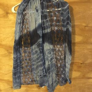 "Maurices Blue Lace Tie Dye Scarf 65""."